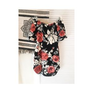 Floral strapless body con dress
